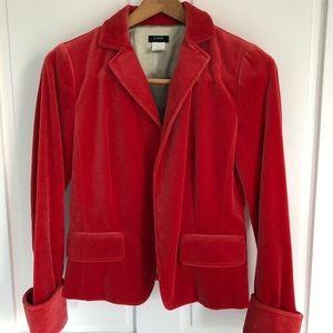 J Crew Coral Velvet Jacket